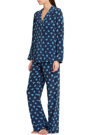 Avery printed washed-silk pajama set