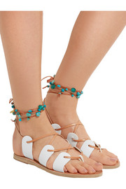 Amaryllis embellished lace-up leather sandals