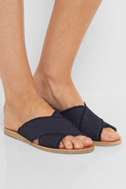 Ancient Greek Sandals Thais frayed denim slides