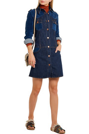 Patchwork stretch-denim mini dress