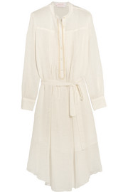 Belted cotton and linen-blend gauze midi dress