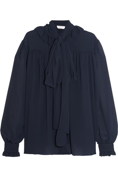 See by Chloé - Pussy-bow Chiffon Blouse - Navy