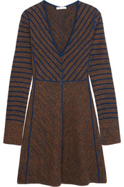 Striped intarsia wool mini dress