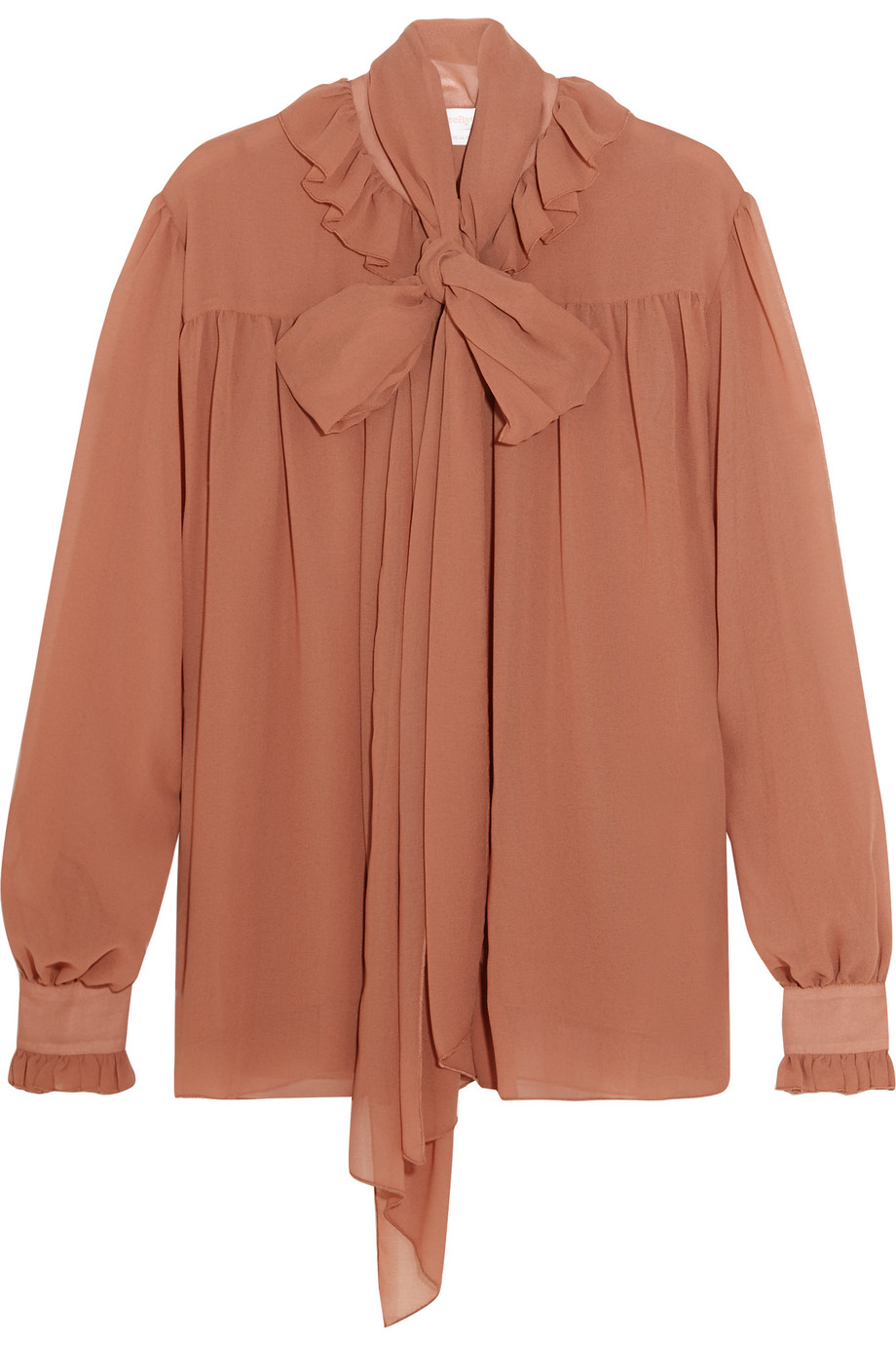 See by Chloé Pussy-Bow Chiffon Blouse, Size: 44