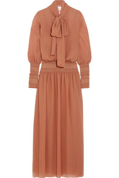 See by Chloé - Pussy-bow Chiffon Maxi Dress - Antique rose