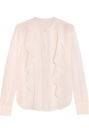 Ruffled devoré-chiffon blouse