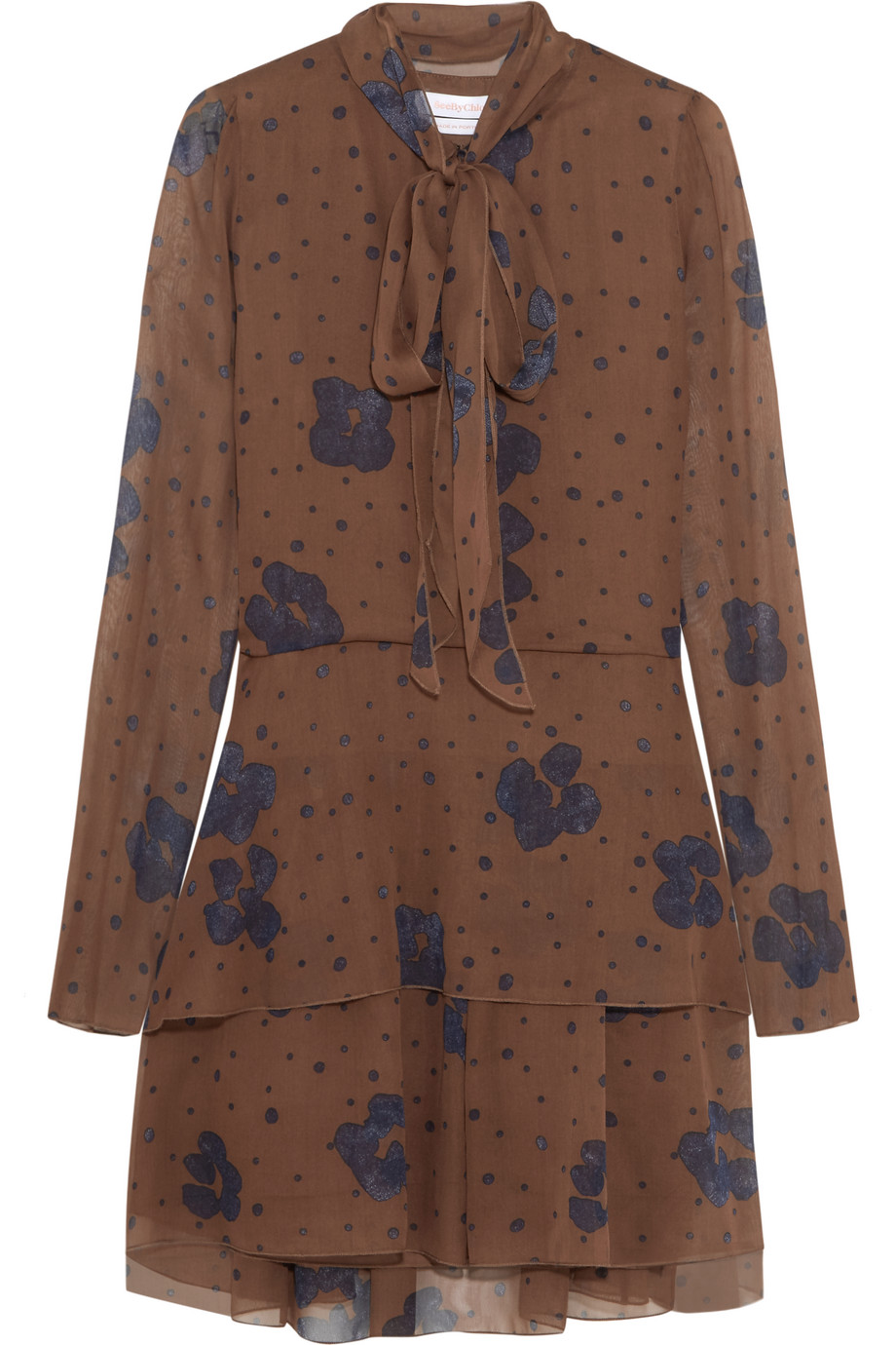 See by Chloé Pussy-Bow Printed Silk Mini Dress, Brown/Navy, Women's - Printed, Size: 36