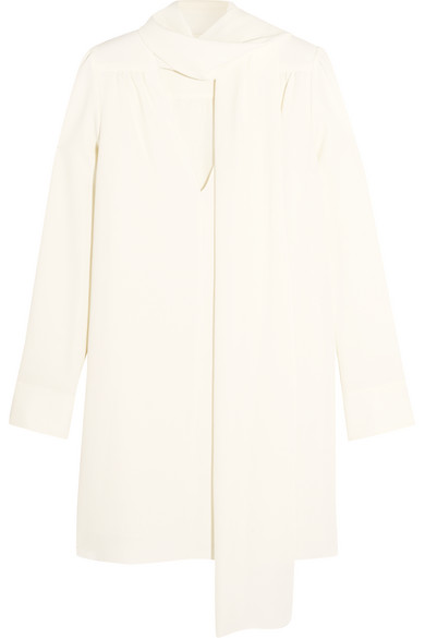 See by Chloé - Pussy-bow Stretch-crepe Mini Dress - White