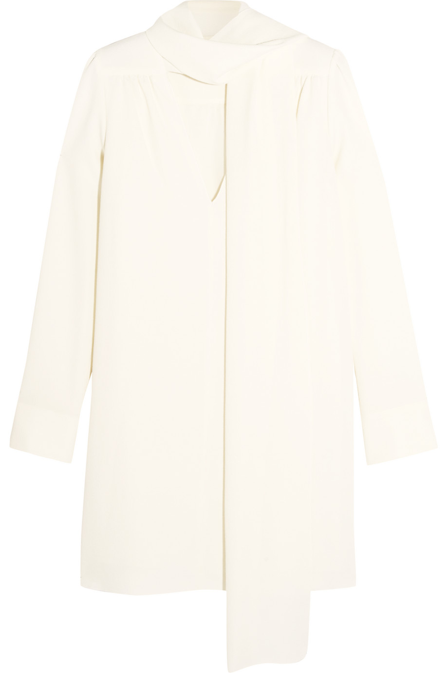 See by Chloé Pussy-Bow Stretch-Crepe Mini Dress, White, Women's, Size: 44