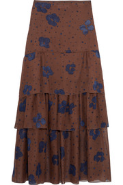 See by Chloé Printed silk maxi skirt