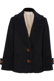 Single-breasted wool-blend peacoat