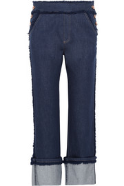 Cropped frayed high-rise straight-leg jeans