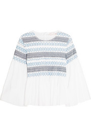 See by Chloé Smocked cotton-poplin top
