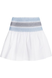 See by Chloé Smocked cotton-poplin mini skirt