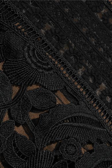 Guipure lace and crepe midi dress
