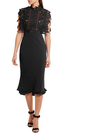 Guipure lace and crepe midi dress