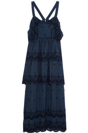 Tiered broderie anglaise-trimmed crepe maxi dress