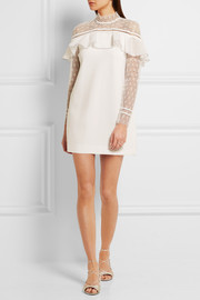 Ruffled guipure lace and crepe mini dress