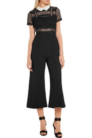 Guipure lace and crepe jumpsuit
