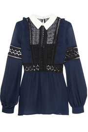Guipure lace and georgette blouse