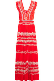 Ruffled printed plissé-georgette maxi dress