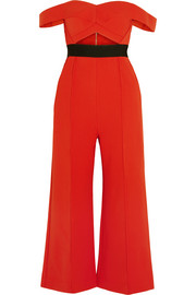 Off-the-shoulder cutout ponte jumpsuit