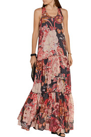 Elizabeth and James Izzie tiered printed silk-georgette gown