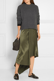 Sydney asymmetric silk-satin midi skirt