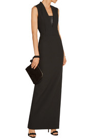 Elizabeth and James Dori faux leather-trimmed stretch-twill gown