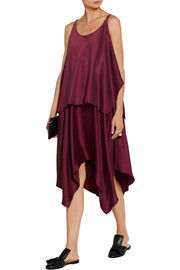 Elizabeth and James Greer asymmetric layered brushed silk-satin dress