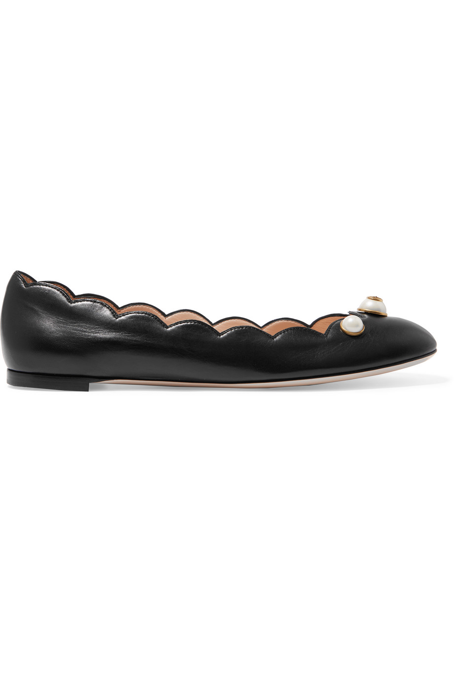Gucci Embellished Leather Ballet Flats, Black, Women's US Size: 11, Size: 41.5