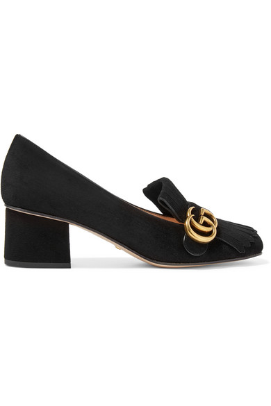 Fringed Logo-Embellished Suede Pumps in Black