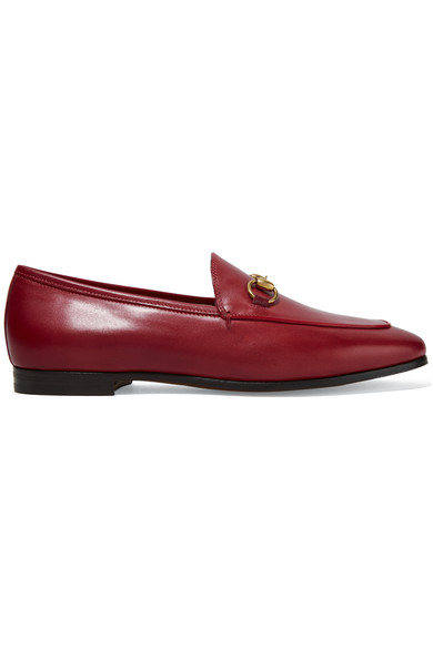 gucci female 250960 gucci horsebitdetailed leather loafers red