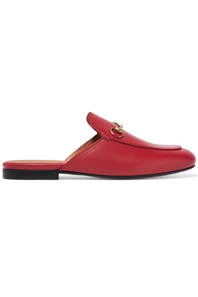gucci female 250960 gucci princetown horsebitdetailed leather slippers red