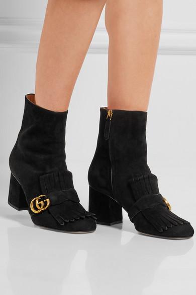 2e98824b142 Fringed logo-embellished suede ankle boots