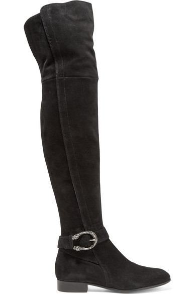 gucci female 188971 gucci dionysus suede overtheknee boots black