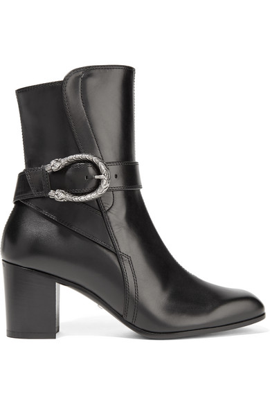 Gucci - Dionysus Leather Ankle Boots - Black