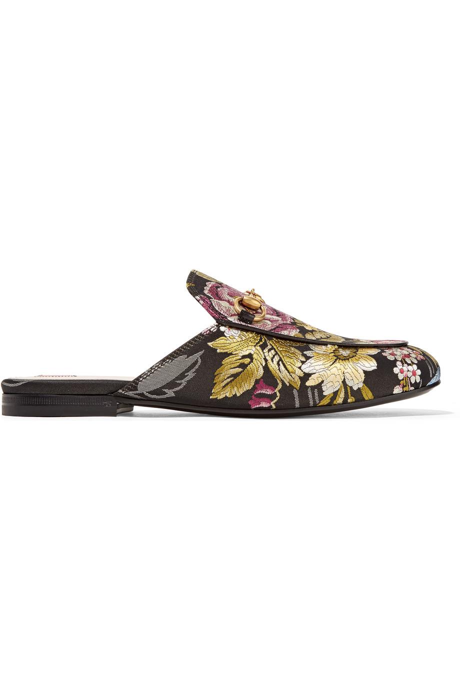 Gucci Princetown Horsebit-Detailed Jacquard Slippers, Black, Women's US Size: 10.5, Size: 41