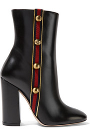 Gucci Embellished canvas-trimmed leather ankle boots