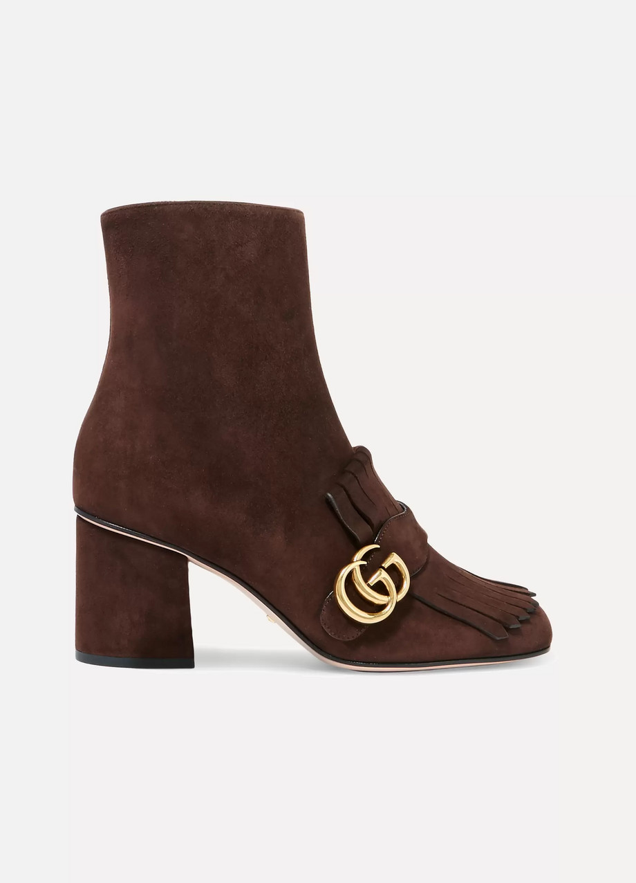 Gucci Fringed Suede Ankle Boots, Chocolate, Women's US Size: 8.5, Size: 39