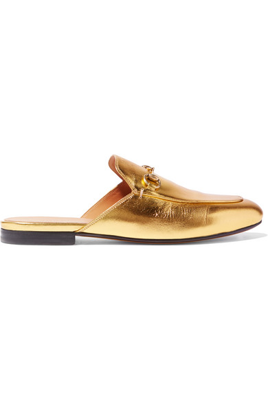 Gucci - Princetown Horsebit-detailed Metallic Leather Slippers - Gold