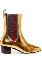 Metallic leather and textured-lamé Chelsea boots