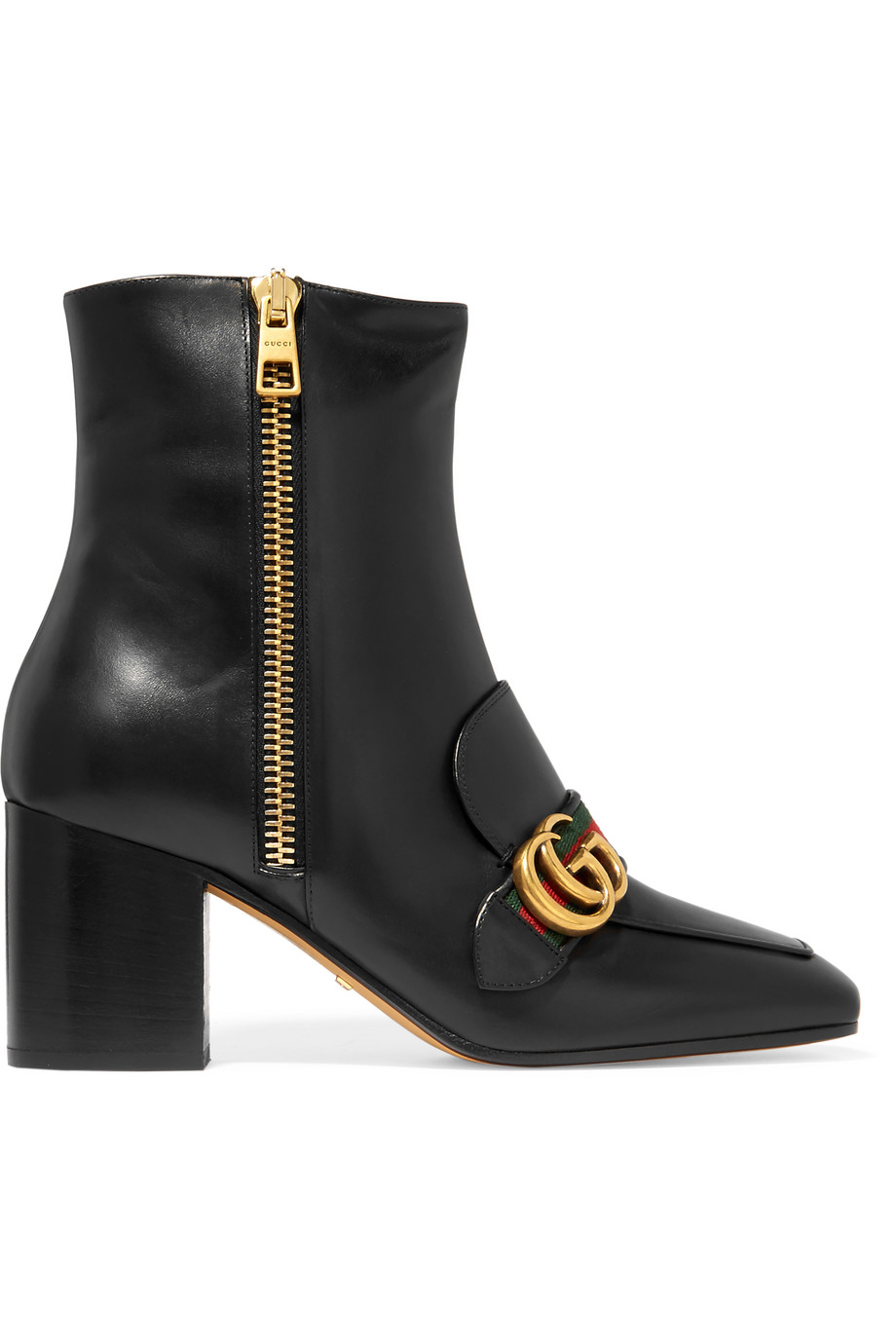 Gucci Leather Ankle Boots, Black, Women's US Size: 11, Size: 41.5