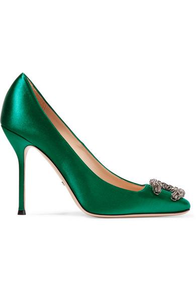 Gucci - Dionysus Embellished Satin Pumps - Emerald