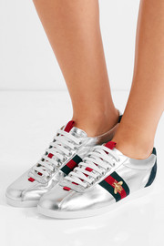 Gucci Suede-trimmed metallic leather sneakers