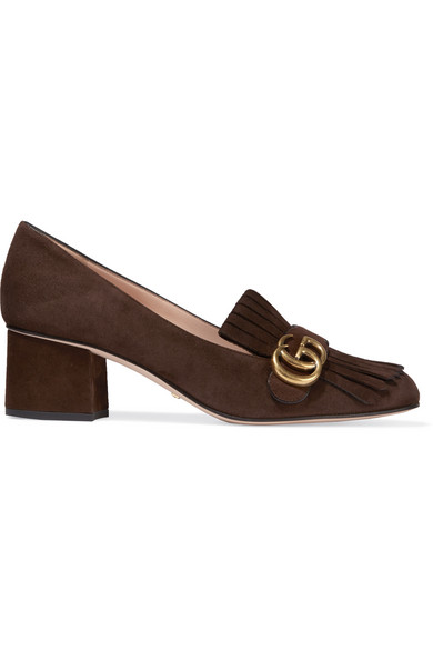 Gucci - Fringed Suede Pumps - Brown