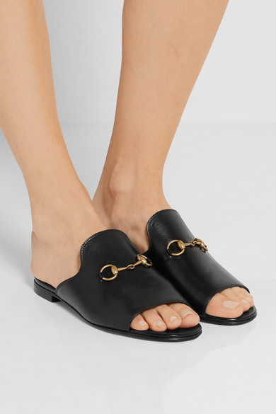 Gucci | Horsebit-detailed leather slides | NET-A-PORTER.COM