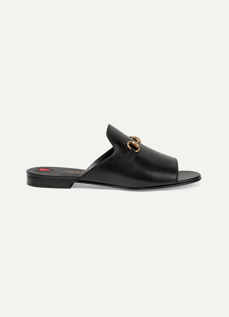 Gucci Horsebit-Detailed Leather Slides, Black, Women's US Size: 6, Size: 36.5