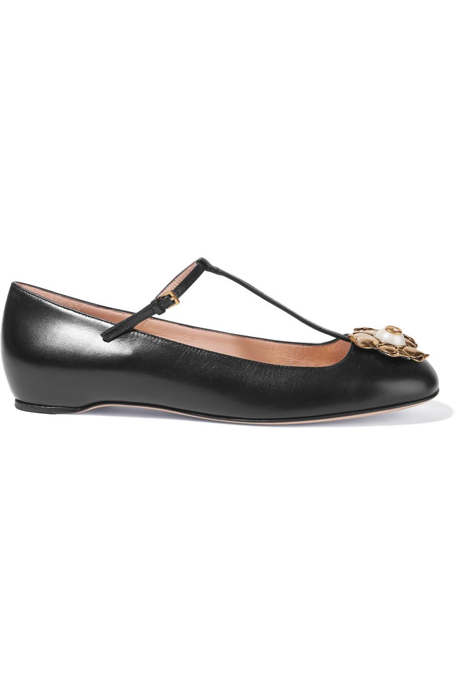 Gucci Embellished Leather Ballet Flats, Black, Women's US Size: 7.5, Size: 38