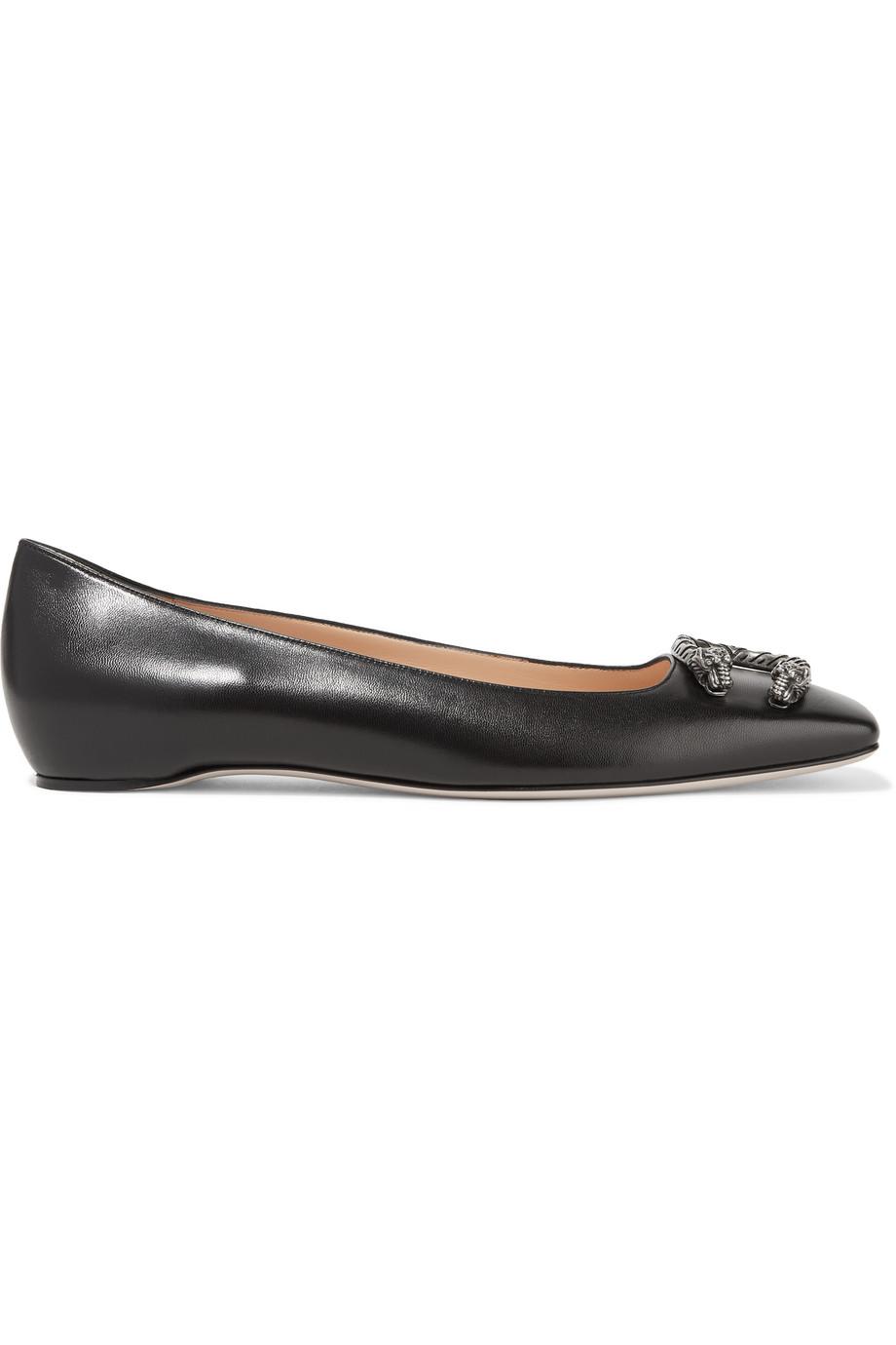 Gucci Dionysus Leather Ballet Flats, Black, Women's US Size: 5.5, Size: 36